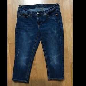 Seven7 Cropped Skinny Blue Jeans Capris Ankle